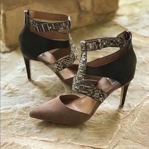 Dolce Vita Snakeskin Suede Toe Cage Heels Size 9